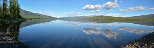 Panorama. Lake in the Putorana plateau. Stock Image