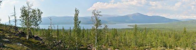 Panorama. Lake in the Putorana plateau. Stock Photo