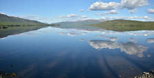 Panorama. Lake in the Putorana plateau. Royalty Free Stock Photography