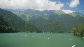 Panorama of the lake ritsa, Abkhazia, southern Caucasus.  stock video footage