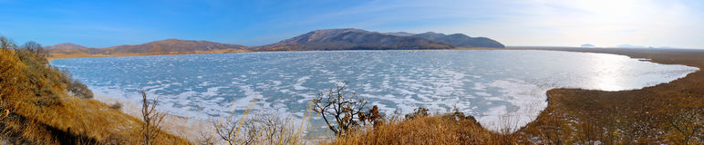 Panorama of the lake Rodnikovoye. Royalty Free Stock Photos