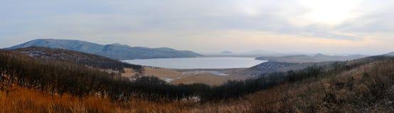 Panorama of the lake Rodnikovoye. Stock Photo