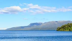 Panorama of Lake Tarawera, New Zealand, with Mount Tarawera in the background stock image