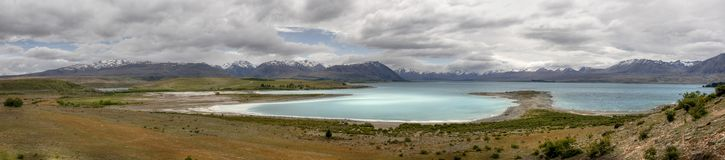 Panorama of lake tekapo in New Zealand. On the south island Royalty Free Stock Image