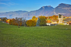 Panorama of Lake Thun and typical Switzerland village near town of Interlaken, canton of Bern Royalty Free Stock Images