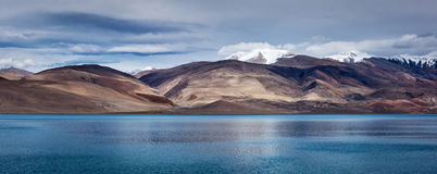 Panorama of Lake Tso Moriri in Himalayas, Ladakh Royalty Free Stock Photography