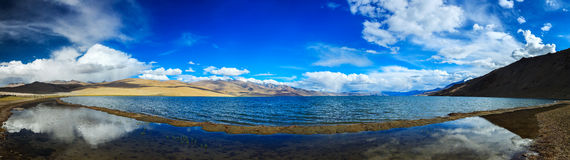 Panorama of lake Tso Moriri in Himalayas, Ladakh Stock Image