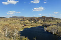 Panorama of lake in valley Stock Photography