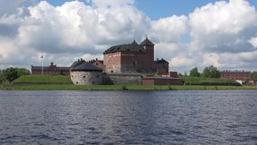 Panorama of lake Vanajavesi with the fortress, cloud by day. Hameenlinna, Finland stock video