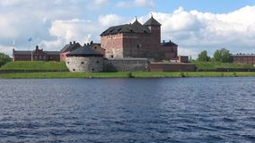Panorama of lake Vanajavesi with the fortress, june day. Hameenlinna, Finland stock video