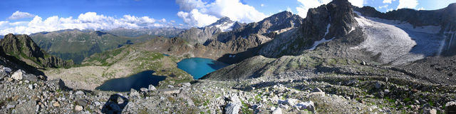 Panorama of lakes and glacier near Sofia mountain, Arkhyz, Russi Stock Images