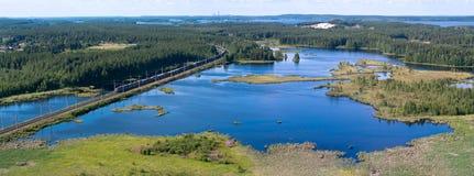 Panorama of lakes and woods of Karelia royalty free stock photos