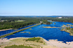 Panorama of lakes and woods of Karelia Royalty Free Stock Images
