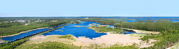 Panorama of lakes and woods of Karelia Stock Image