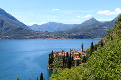 Panorama of lakeside village Varenna at Lake Como with mountains in Lombardy. Italy Royalty Free Stock Images