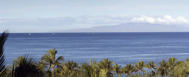 Distant Island of Lanai, HI Stock Image