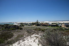 Panorama of Lancelin town near the beach and white sand dunes Stock Image