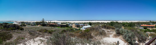Panorama of Lancelin town near the beach and white sand dunes Royalty Free Stock Image