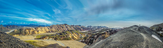 Panorama of Landmannalaugar, scenic highland area in Iceland Stock Image