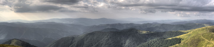 Panorama landscape. HDR landscape panorama of mountains royalty free stock photo