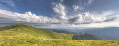 Panorama landscape. HDR landscape panorama of mountains stock photo