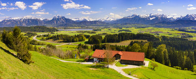 Panorama landscape with alps mountains in Bavaria Royalty Free Stock Photo