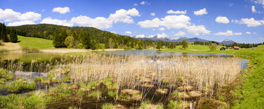 Panorama landscape with alps mountains in Bavaria Stock Photos