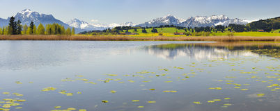 Panorama landscape with alps mountains in Bavaria Royalty Free Stock Photos