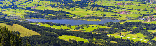 Panorama landscape with alps mountains and lake in Bavaria Stock Photography