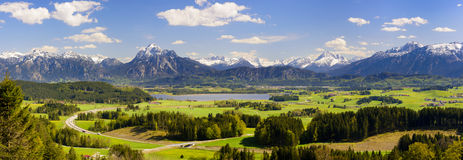 Panorama landscape with alps mountains and lake in Bavaria Stock Photo