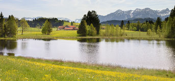 Panorama landscape with alps mountains and lake in Bavaria Stock Images