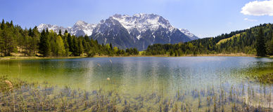 Panorama landscape with alps mountains and lake in Bavaria Royalty Free Stock Image