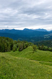 Panorama landscape in Bavaria with alps mountains and meadow at spring. Landscape in Bavaria with alps mountains and meadow at spring Royalty Free Stock Photos