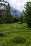 Panorama landscape in Bavaria with alps mountains and meadow at spring Stock Photo