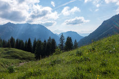 Panorama landscape in Bavaria with alps mountains and meadow at spring Stock Image