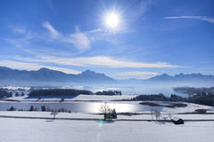 Panorama landscape in Bavaria at alps mountains Royalty Free Stock Image