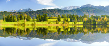 Panorama landscape in Bavaria at alps mountains Royalty Free Stock Photography