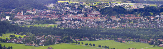 Panorama landscape in Bavaria with german city Fuessen Royalty Free Stock Photos