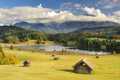 Panorama landscape in Bavaria with mountains and lake Stock Image