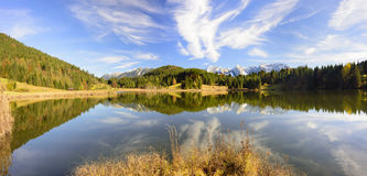 Panorama landscape in Bavaria with mountains and lake Royalty Free Stock Images