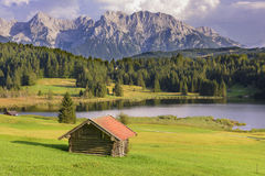 Panorama landscape in Bavaria with mountains and lake Royalty Free Stock Photo