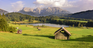 Panorama landscape in Bavaria with mountains and lake Stock Images