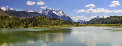 Panorama landscape in Bavaria with mountains and river and lake Stock Photo