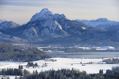 Panorama landscape in Bavaria with mountains at winter Stock Photography
