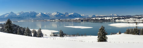 Panorama landscape in Bavaria at winter Royalty Free Stock Image