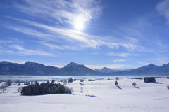 Panorama landscape in Bavaria at winter Stock Images
