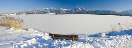 Panorama landscape in Bavaria at winter Royalty Free Stock Photo