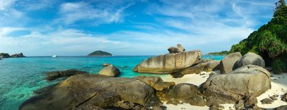 Panorama of Similan islands. Panorama landscape with beach and rocks on Similan islands, Thailand Royalty Free Stock Image