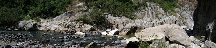 Panorama landscape from the Cañón de Somoto. With a river and rocks in Nicaragua Royalty Free Stock Photo