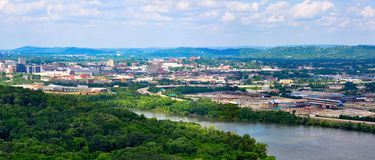 Panorama landscape of Chattanooga on the Tennessee River as seen from Chickamauga Dam Royalty Free Stock Photo